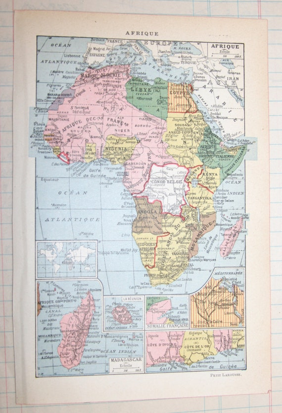 Vintage 1939 French Map of Africa