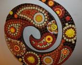 Mosaic Swirl,  Paisley Retro Wall Art Plaque-- Sold locally