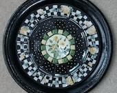 Yellow Roses on Black Mosaic Tray