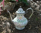 China Mosaic Silverplate Teapot Vase, Wild Roses