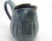 Faceted pitcher - speckled blue