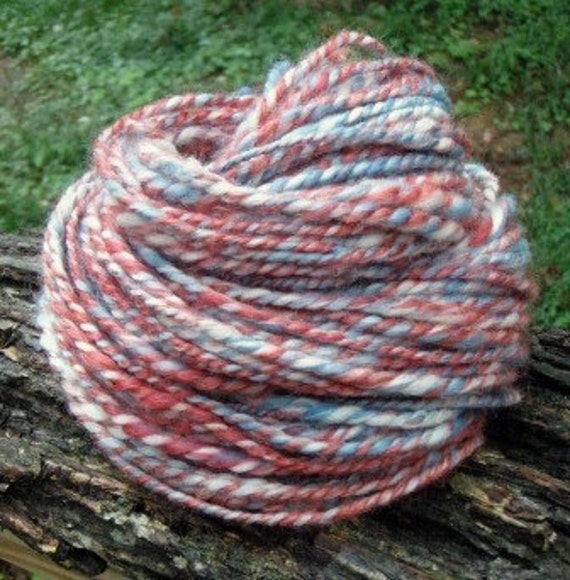 Patriotic Handspun--Red, White, and Blue Yarn--Merino, BFL Cormo, Romney, and Milk Fiber --2.6 Ounces--58 Yards--Plant Dyed
