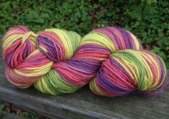 Summer Colors--4 Ounce Worsted Skein--Wool Mohair Blend--185 Yards--Plant Dyed