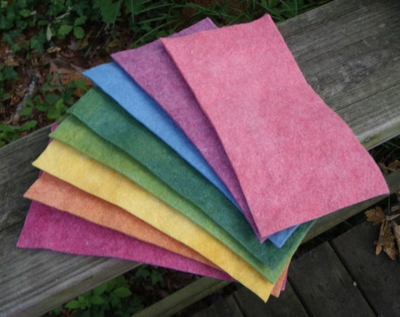 Summer Rainbow Felt Skinny Stack with Two Greens--Wool Rayon Felt--4 by 8 Inches--Plant Dyed