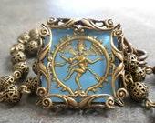 Sky Blue and Gold Shiva Intaglio Necklace