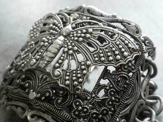 Silver Butterfly Bracelet Victorian Filigree