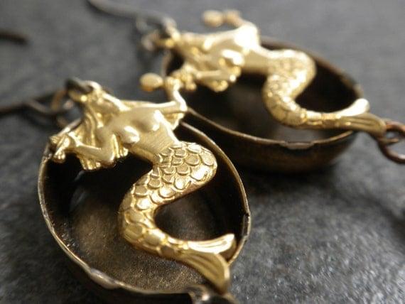 Mermaid Earrings with Niobium Wires