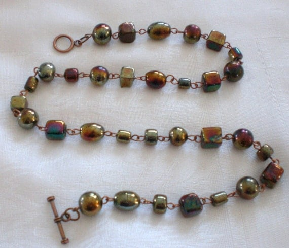 Beaded copper necklace with foil beads