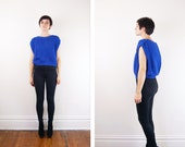 1980s Blue Cropped Sweater - S/M/L