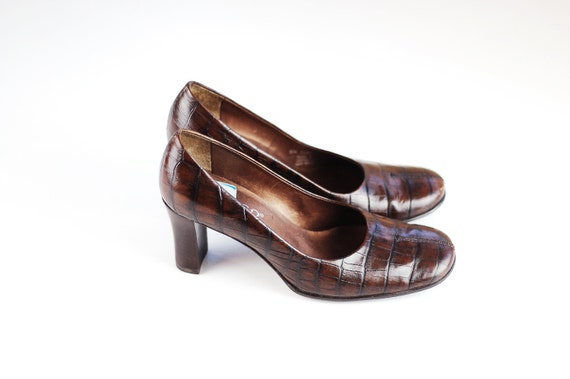 Leather Brown Heels 80s/90s 6M/6.5