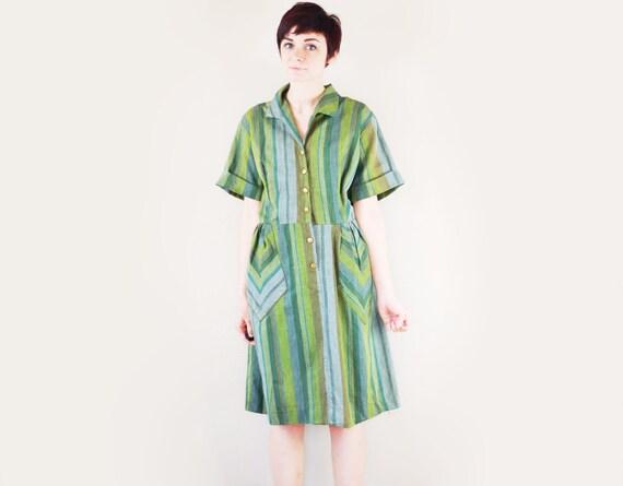 Plus Size Green 1950s Dress - XL