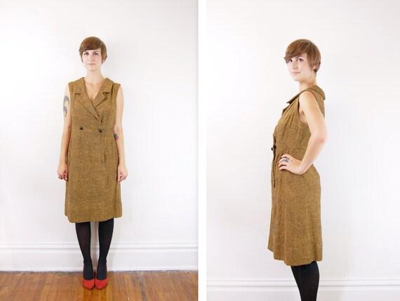 1970s Golden Brown Suit Dress - M/L