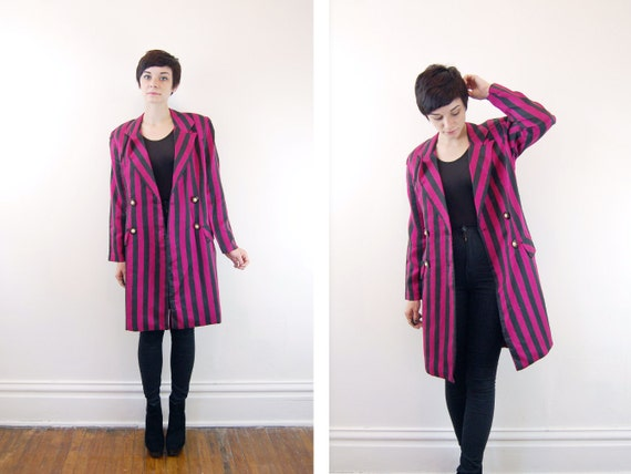1980s Pink and Black Striped Coat - M