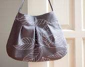 canvas shoulder bag // pleated purse // ipad bag // birthday gift // READY TO SHIP // grey leaves // the charlie bag