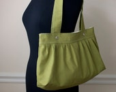 cotton canvas shoulder bag // gifts for her // pleated purse // pea green // the foxtrot bag // READY TO SHIP