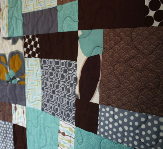 SALE - - modern patchwork baby quilt - - crib or wall hanging quilt