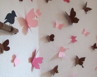 3d butterfly wall decals - set of 35