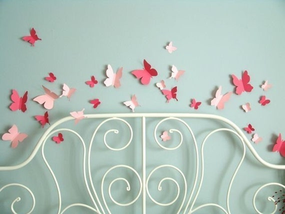 Butterfly flying wall stickers in two shades of pink - Set of 25 - FREE SHIPPING