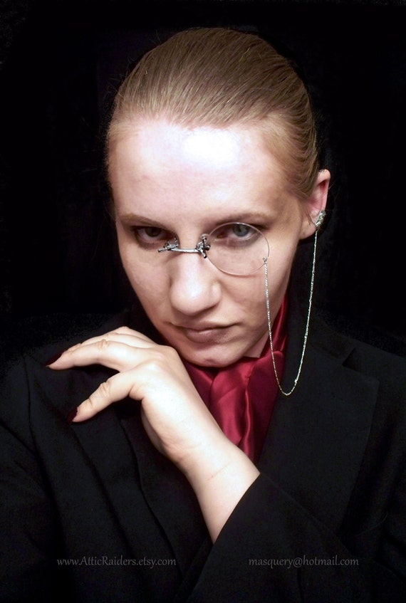 Made to Order -Pince Nez Costume Gothic Monocle - Silver Ear Cuff - Chain