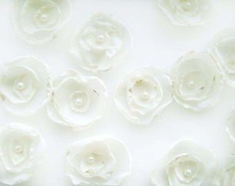 ivory silk fabric flowers for scattering on your wedding reception tables x 10