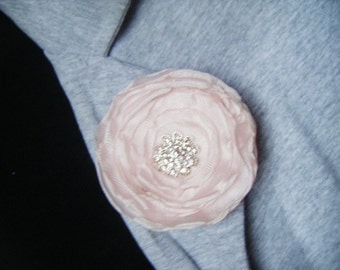 Wedding button hole boutonniere pink cherry blossom fabric flower brooch