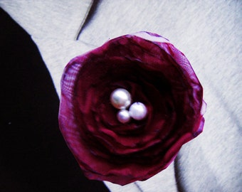 Wedding button hole boutonniere maroon red fabric flower brooch
