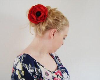 Wedding hair fascinator clip poppy red and black silk