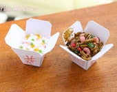 Chinese Takeaway - Cantonese Rice and Shrimp Noodles - Miniature Food