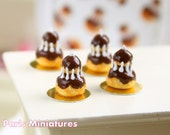 Chocolate Religieuse - French Pastry in 12th Scale - Handmade Dollhouse Miniature Food