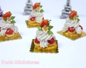 Strawberry St Honoré - French Pastry in 12th Scale - Handmade Dollhouse Miniature Food