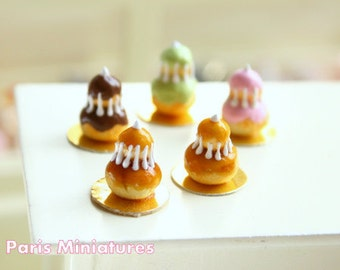 Caramel Religieuse - French Pastry in 12th Scale - Handmade Dollhouse Miniature Food