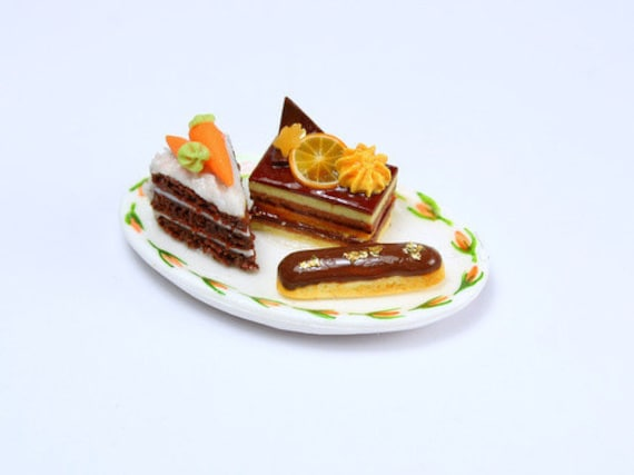 Trio of French Pastries on Handpainted Plate - French Miniature Food in 12th Scale