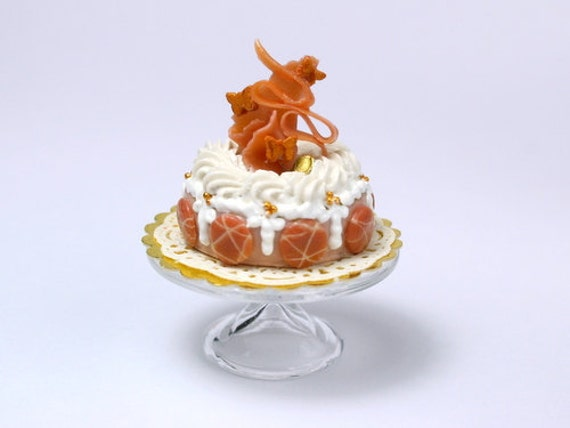 Caramel and Macaroon Designer Cake - French Miniature Food in 12th Scale