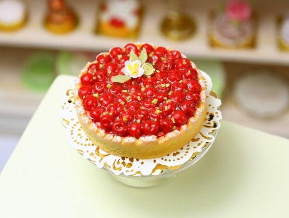 tarte aux cerises cherry tart french miniature food in. Black Bedroom Furniture Sets. Home Design Ideas