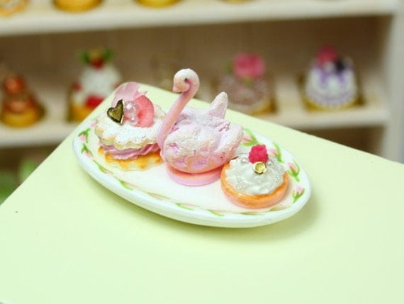 Pink Pastries - Pink Cream Swan, Tartlets - French Miniature Food in 12th Scale