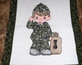 Precious Moments Army Soldier Hand Crocheted Afghan Throw