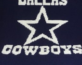 Dallas Cowboys  Crochet Crocheted Afghan Blanket - Great For Any COWBOY LOVER -