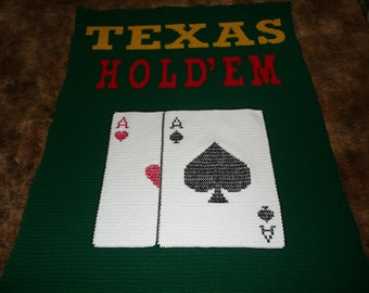 Texas Hold'em Crochet Afghan Throw - Great for Game Room-