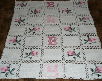 Baby Rose Afghan Crochet Throw -So Sweet and Pretty-