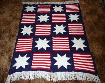 Stars and  Stripes - Very Patriotic - Crochet Afghan Blanket Throw