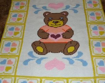 Teddy Bear with Rainbow Hearts - Crochet Afghan Blanket Throw