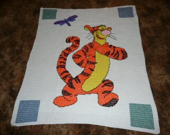 DIsneys Tigger  crochet afghan throw blanket --- great baby gift ---