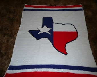 Texas -Lone Star- crochet afghan afghans throw -Great for any Texan- free shipping in usa
