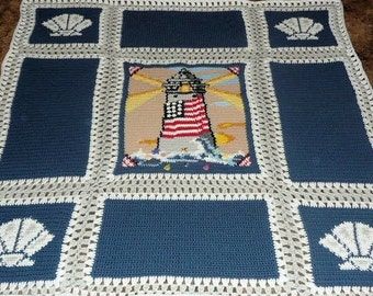 Patriotic Lighthouse with  Seashells - United States Flag in the middle of Lighthouse - Afghan Crochet Blanket