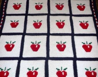 Red Delious Apples - Wonderful Apple Afghan Blanket Throw Crochet -  Nice Looking Afghan