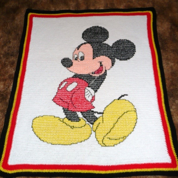 Mickey Mouse Crochet Baby Blanket Pattern : Disney mickey mouse crochet afghan throw blanket by ...