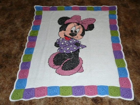 Disneys Minnie Mouse Crochet Afghan Blanket Throw - Beautiful Colors -