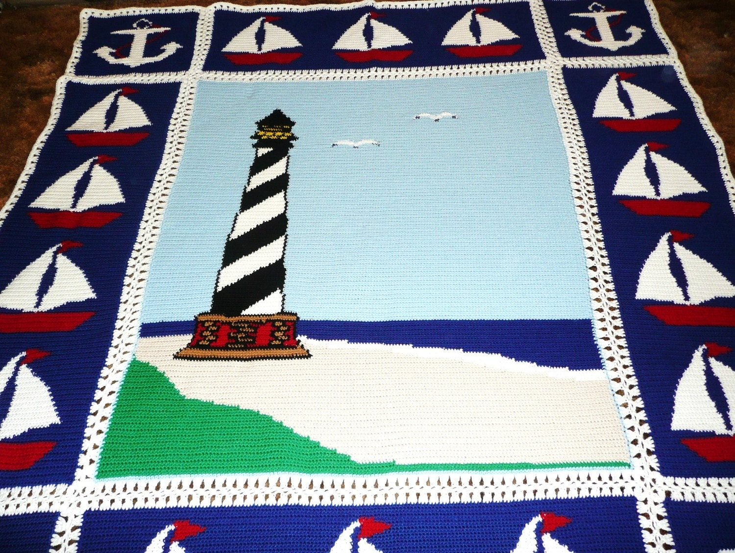 Nautical Lighthouse Sailboats and Anchors by maltesedreamer
