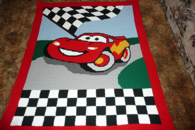 Car Blanket: Disney CARS Crocheted Afghan Afghans Throw Blanket