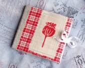 needle case book hand made red poppy mona liza cotton linen felt